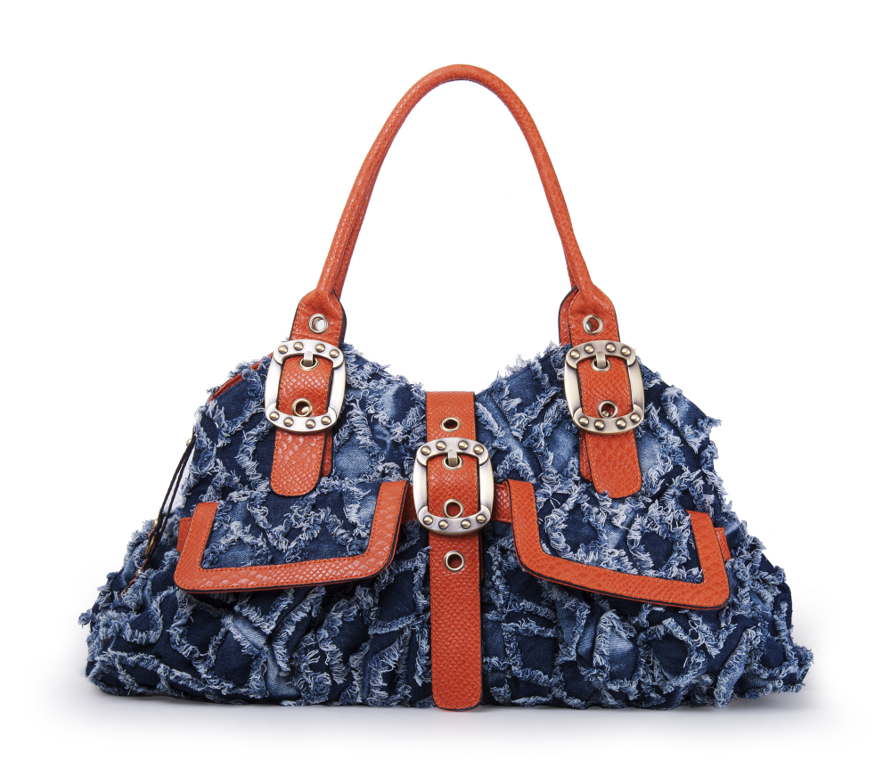 iDenimz Diamond Fray Washed Denim and Textured PU Leather Pyramid Tote Large Blue and Brown