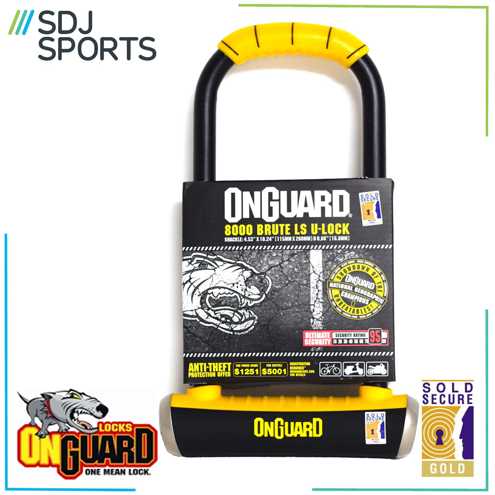onguard brute ls 8000 u lock bike security d shackle cycle gold sold secure. Black Bedroom Furniture Sets. Home Design Ideas