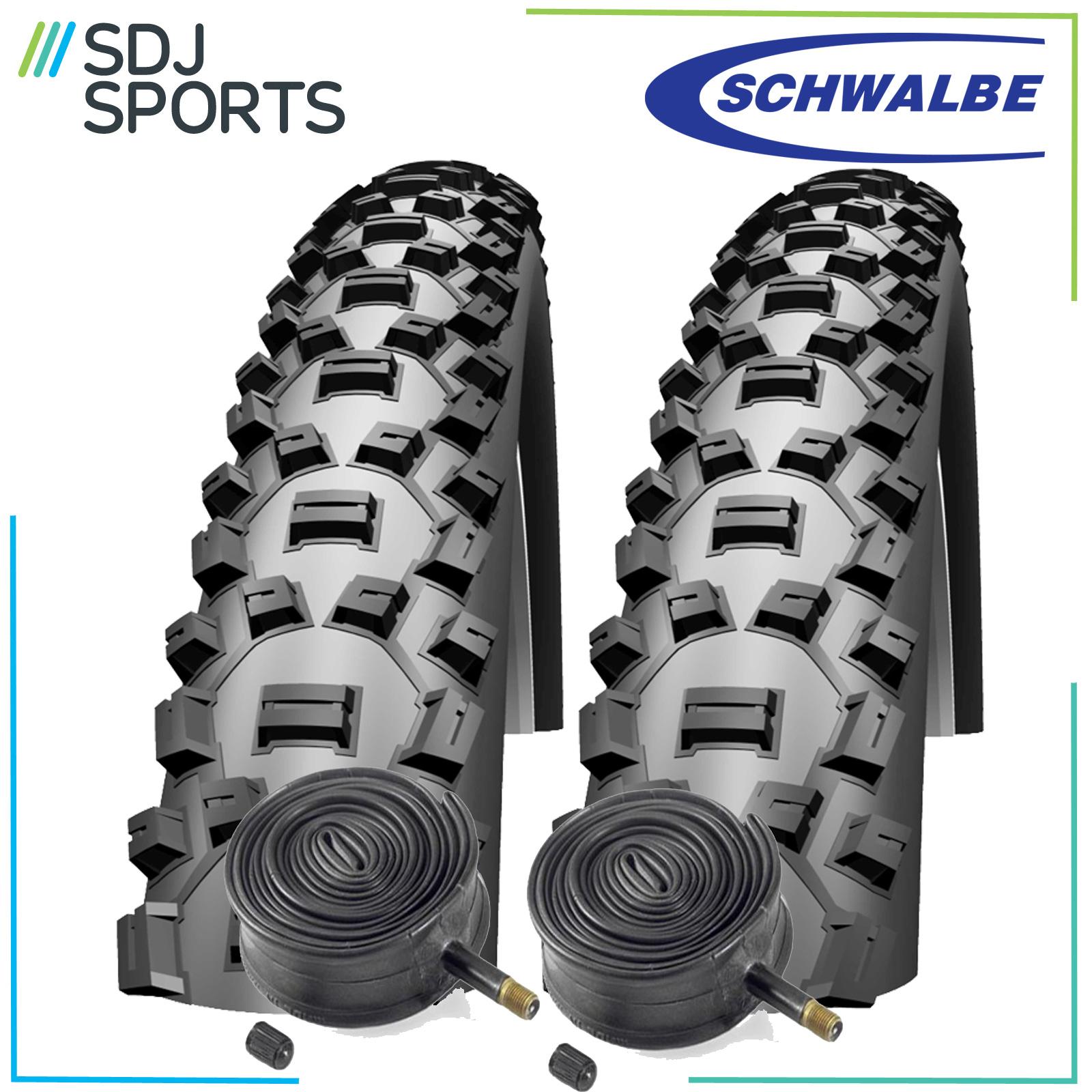 "2X Schwalbe Nobby Nic 26/"" X 2.1 Mountain Bike Tyres /& Schrader Inner Tubes"