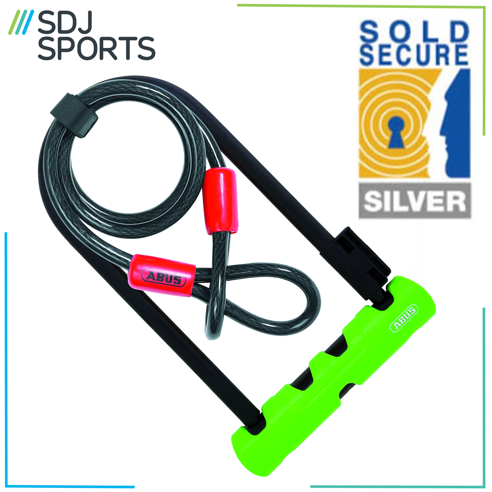 abus ultra 410 bike d lock with steel cable silver sold secure cycle lock ebay. Black Bedroom Furniture Sets. Home Design Ideas
