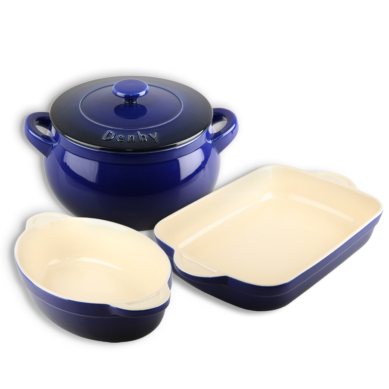 Details about Denby Imperial Blue Ceramic 3 piece Cookware Set