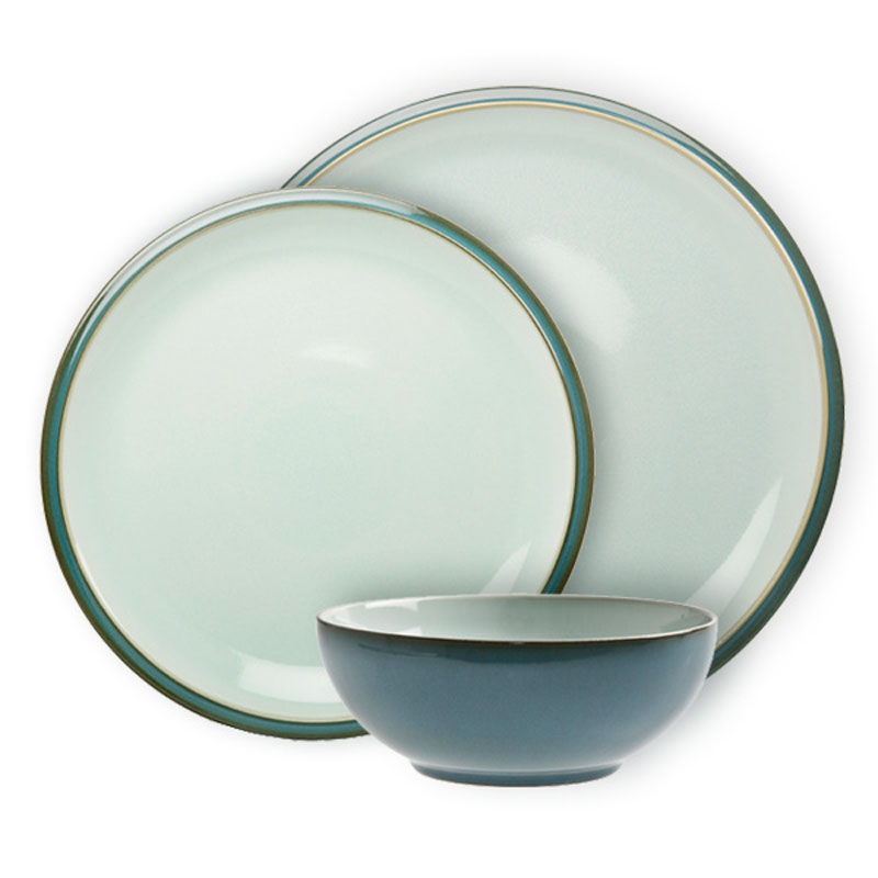 denby everyday teal 12 piece dinner set ebay. Black Bedroom Furniture Sets. Home Design Ideas