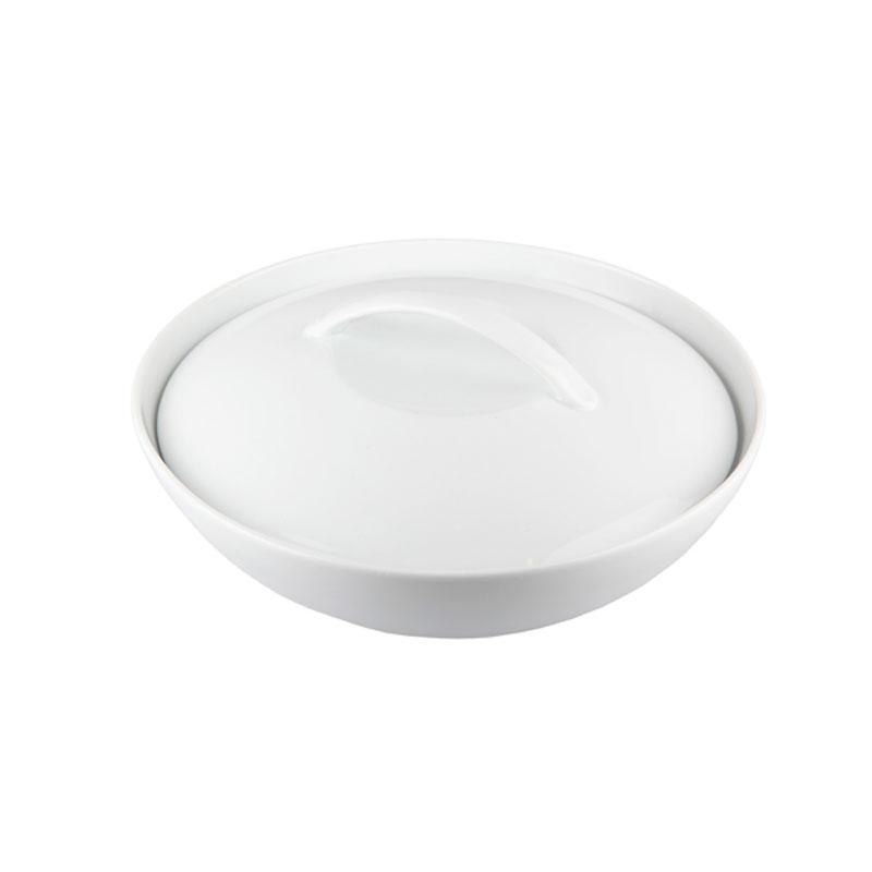 Denby Pottery White Coupe Serving Bowl with Lid
