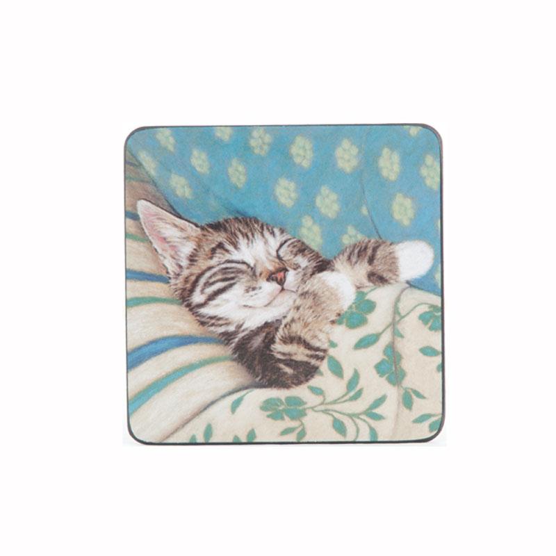 Tabletalk Bedtime Cat Coaster Set of 6  supplied by Denby Pottery