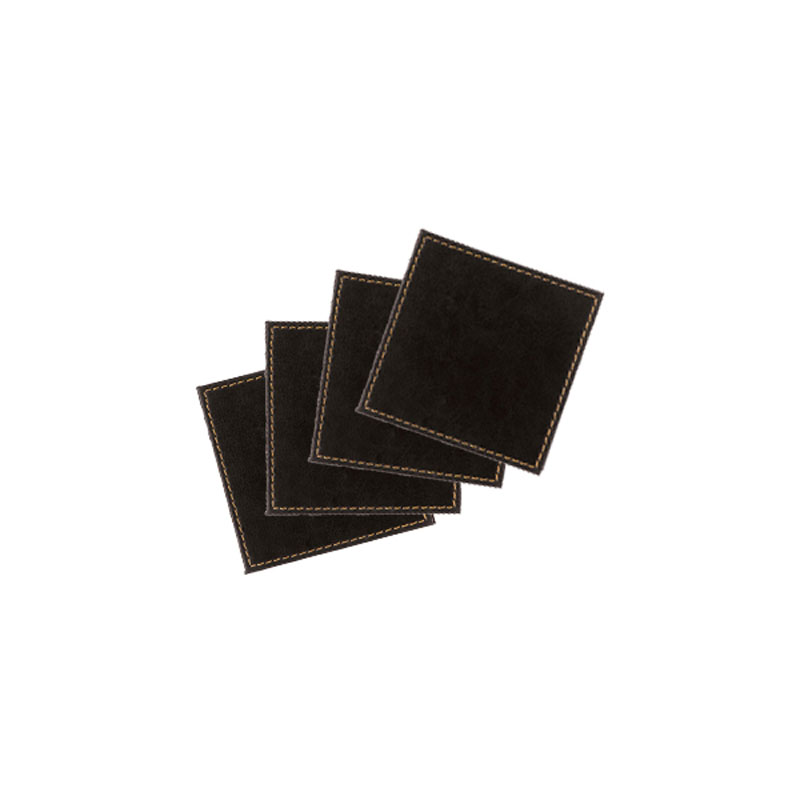 Denby Pottery Lifestyle Black Faux Leather Coasters Set of 4