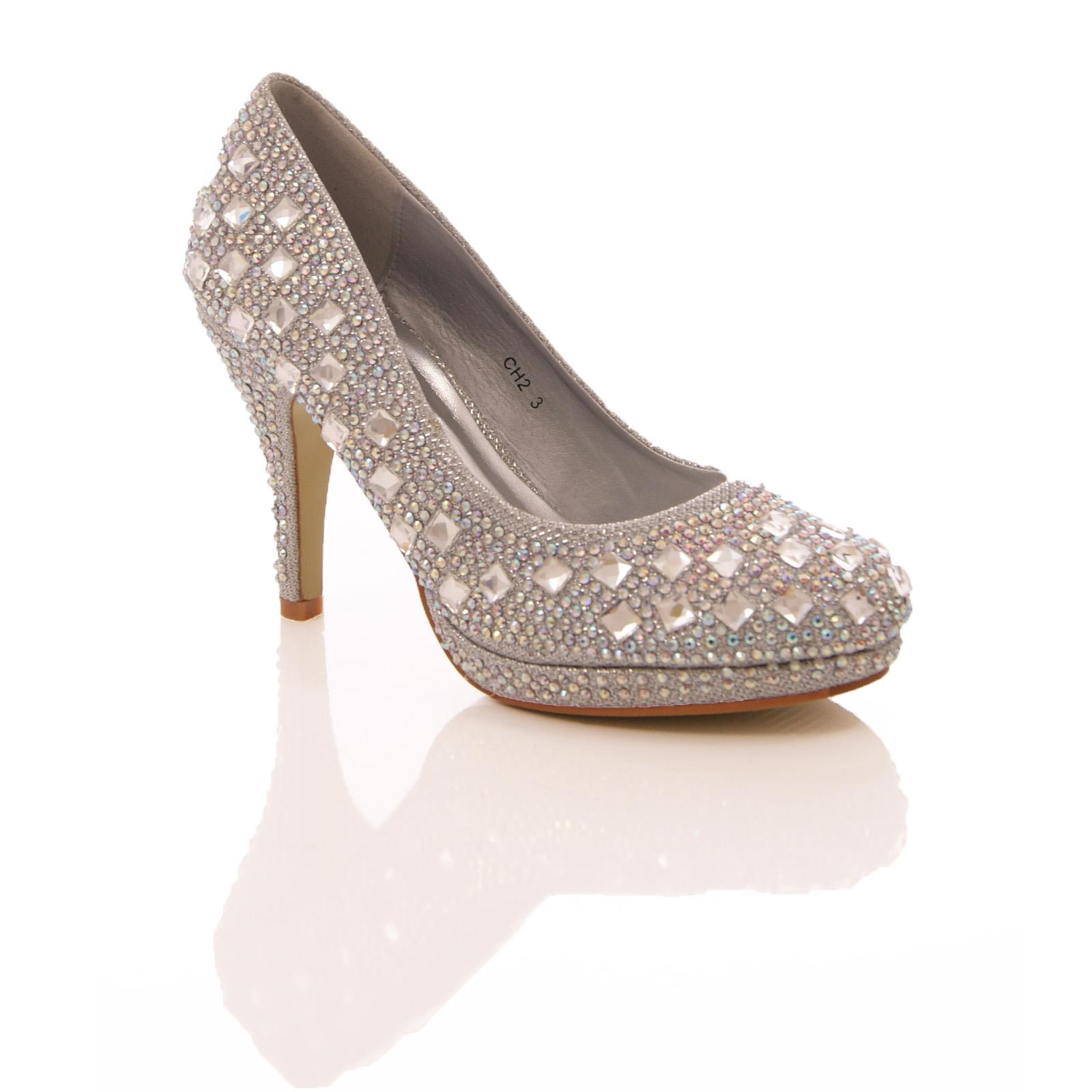 womens diamante high heel court shoes