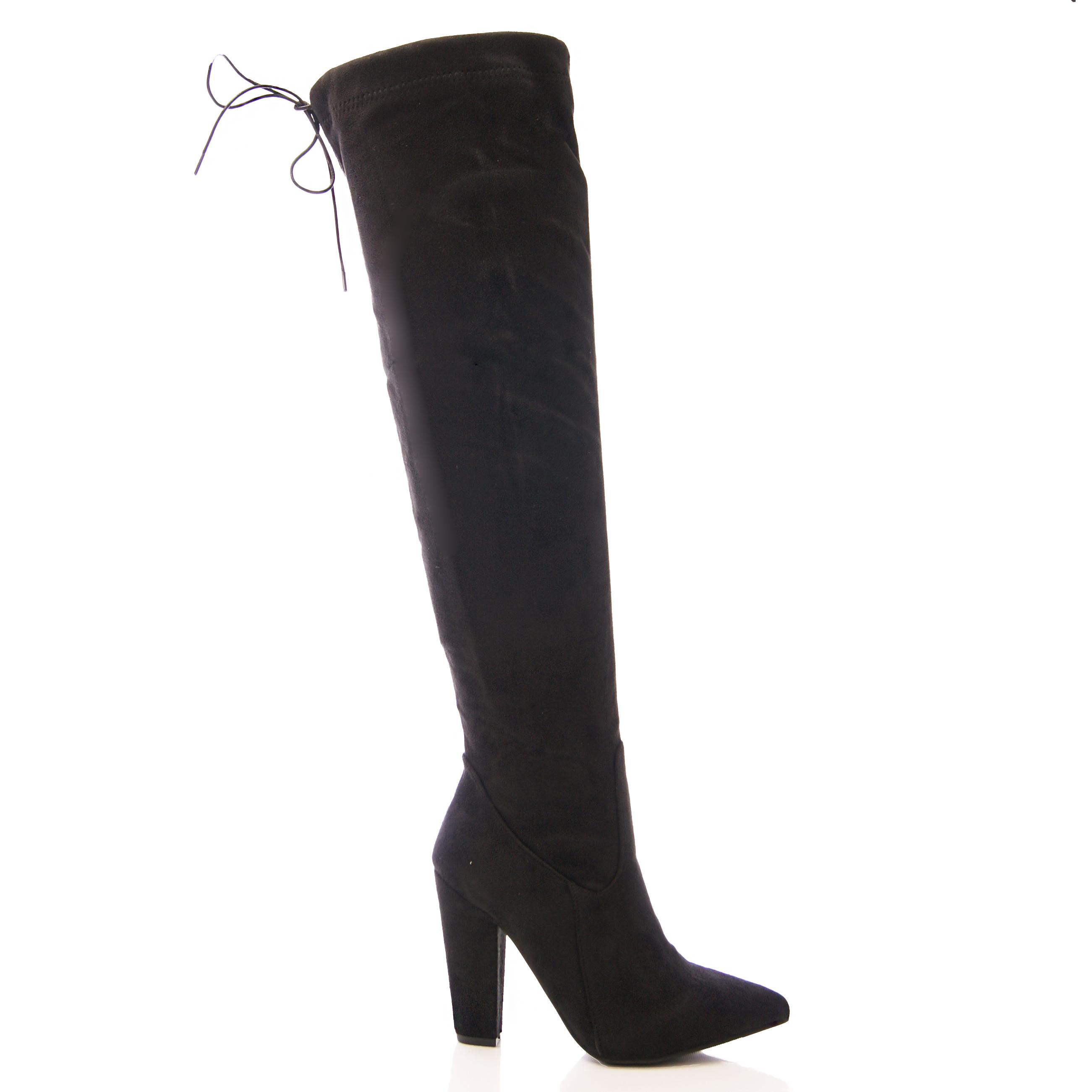 LADIES WOMENS OVER THE KNEE BOOTS LONG LEG BLOCK HEEL TIE ...