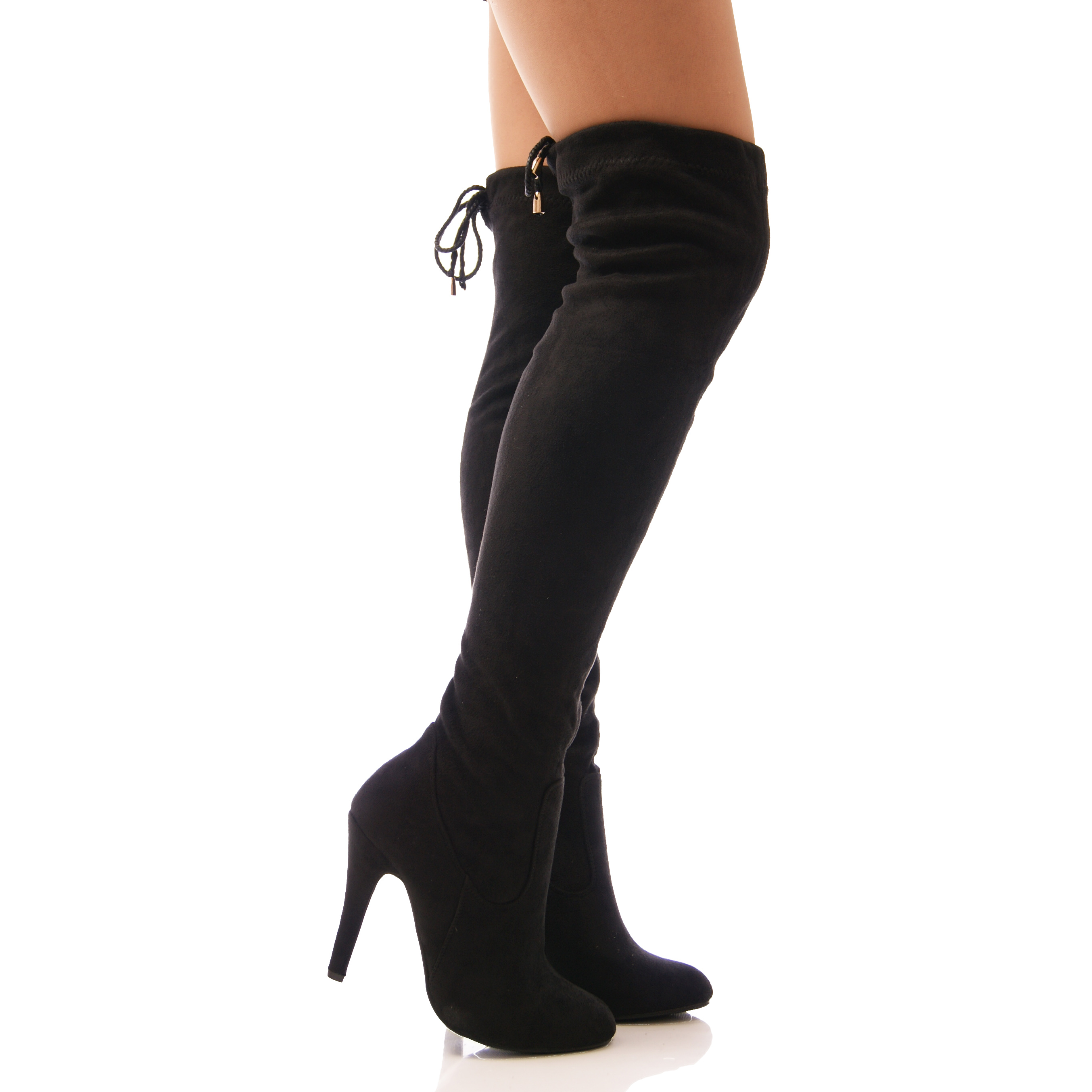 womens the knee boots slouch leg tie