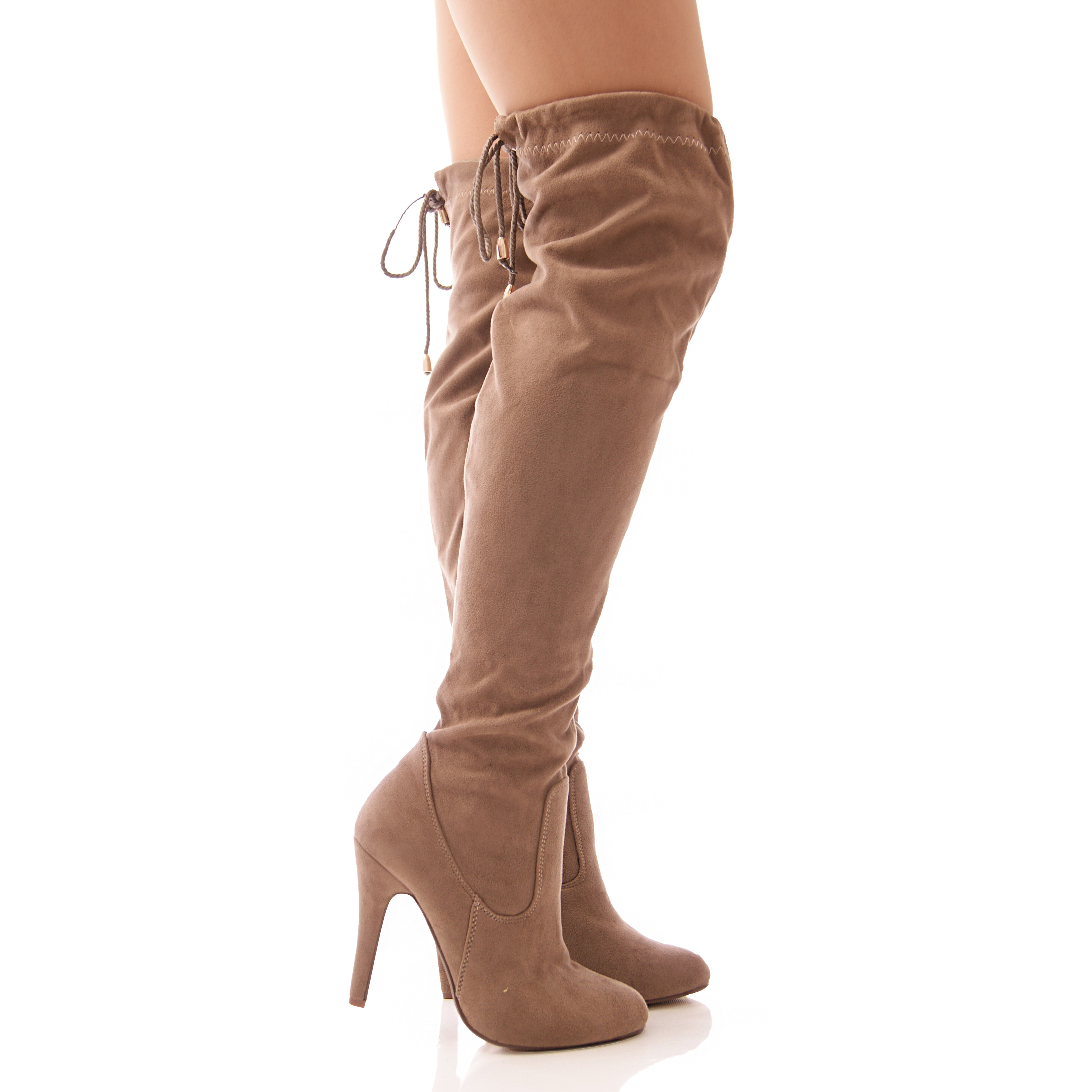 LADIES WOMENS OVER THE KNEE BOOTS SLOUCH LONG LEG TIE SLOUCH ...