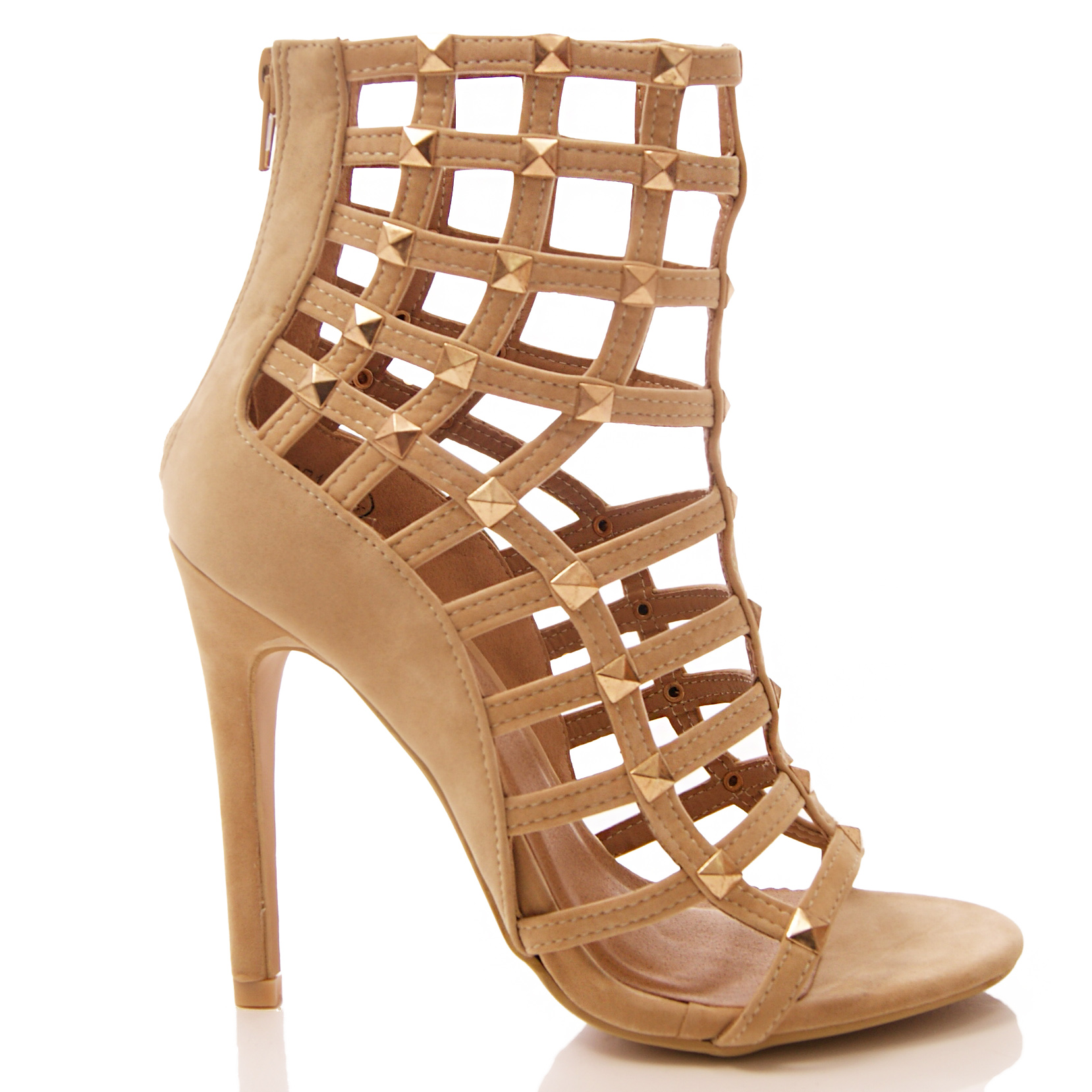 LADIES WOMENS CUT OUT SHOES HIGH HEEL STUD STUDDED CAGED GLADIATOR SANDALS SIZE
