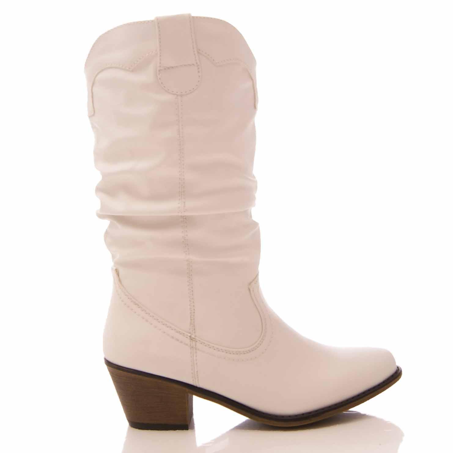 Mesdames Bottes Cowboy Femme Western Mi Mollet Slouch faux cuir casual