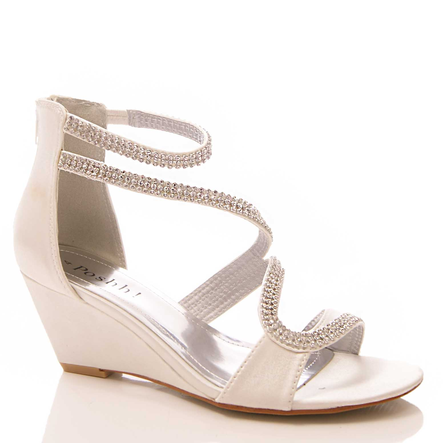womens satin diamante wedge sandals wedding evening