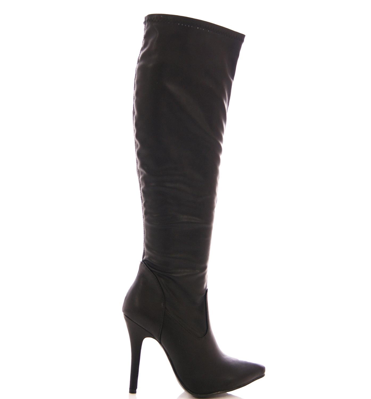 womens black stretch high heel stiletto knee high