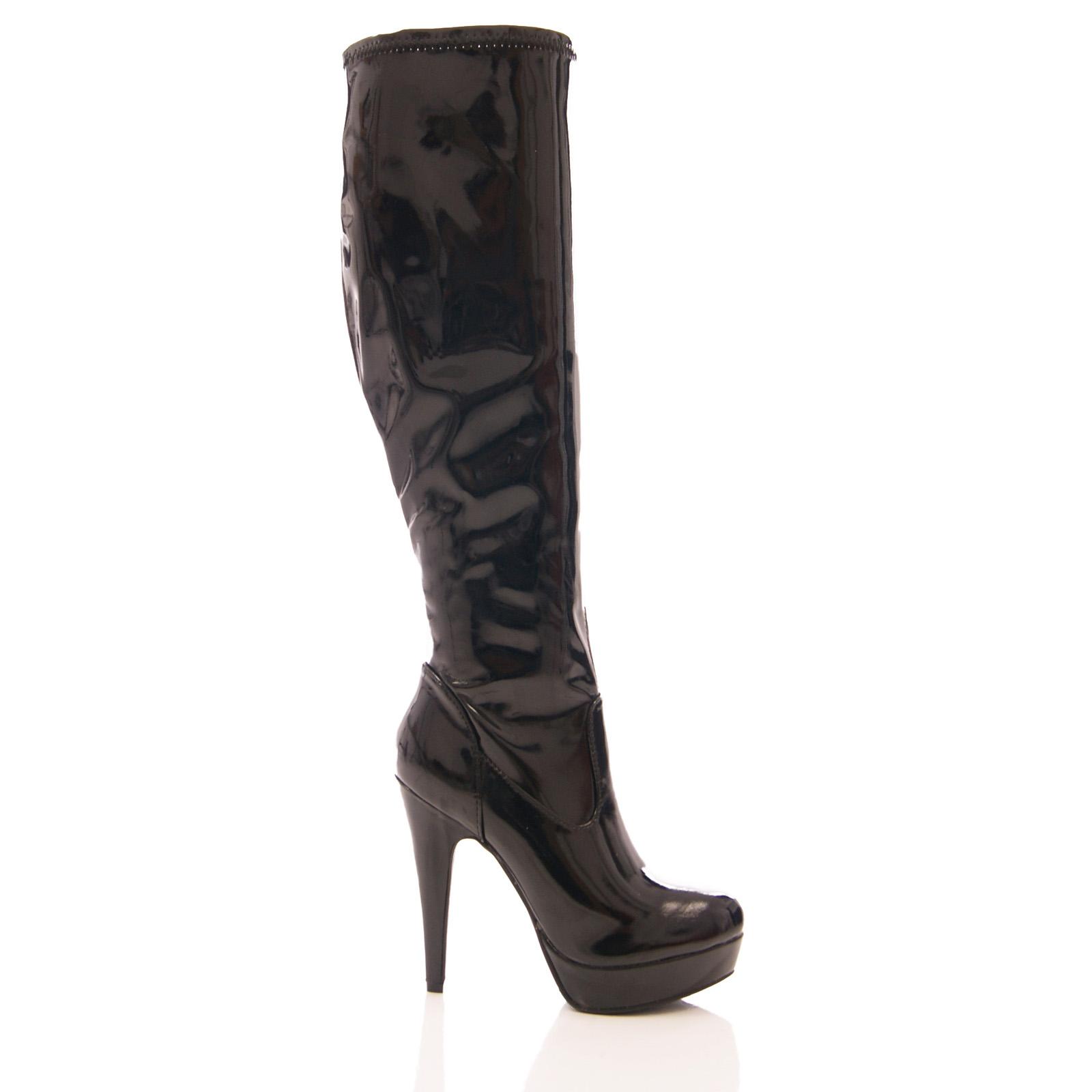 femme stretch bottes platorm talon haut sexy longue jambe aiguille chaussures taille. Black Bedroom Furniture Sets. Home Design Ideas