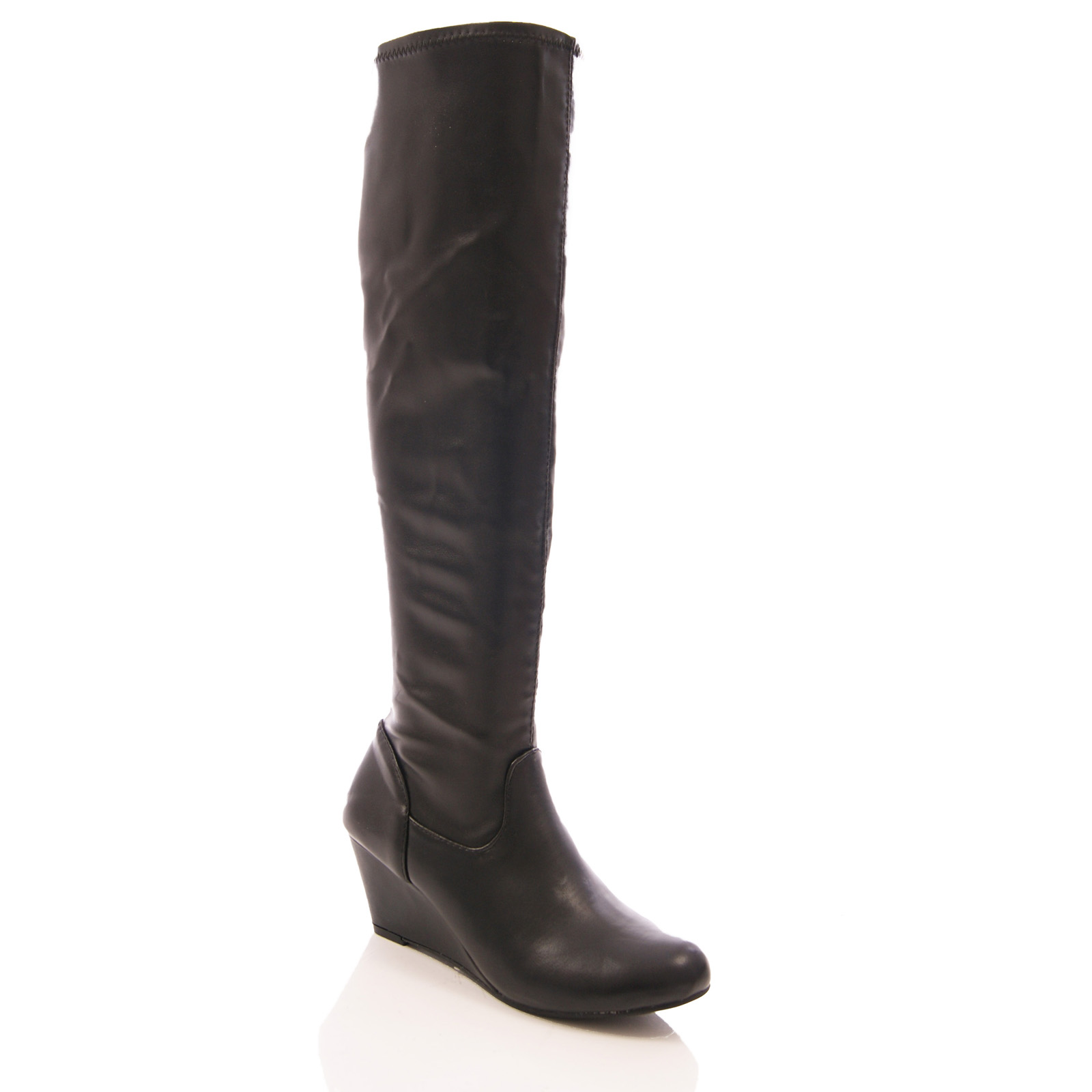LADIES WOMENS LOW WEDGE STRETCH BOOTS ELASTIC LONG LEG ZIP UP ...