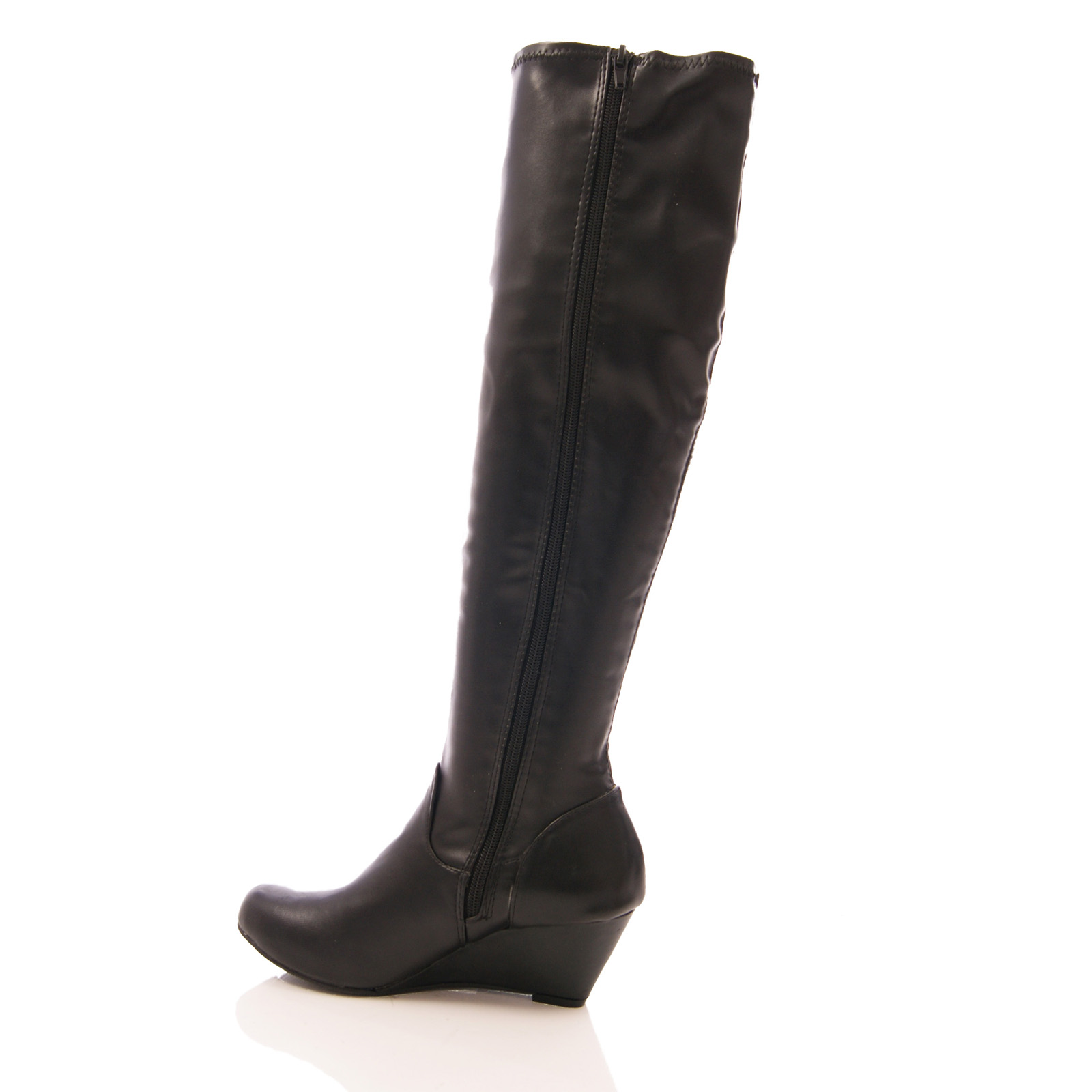 womens low wedge stretch boots elastic leg zip