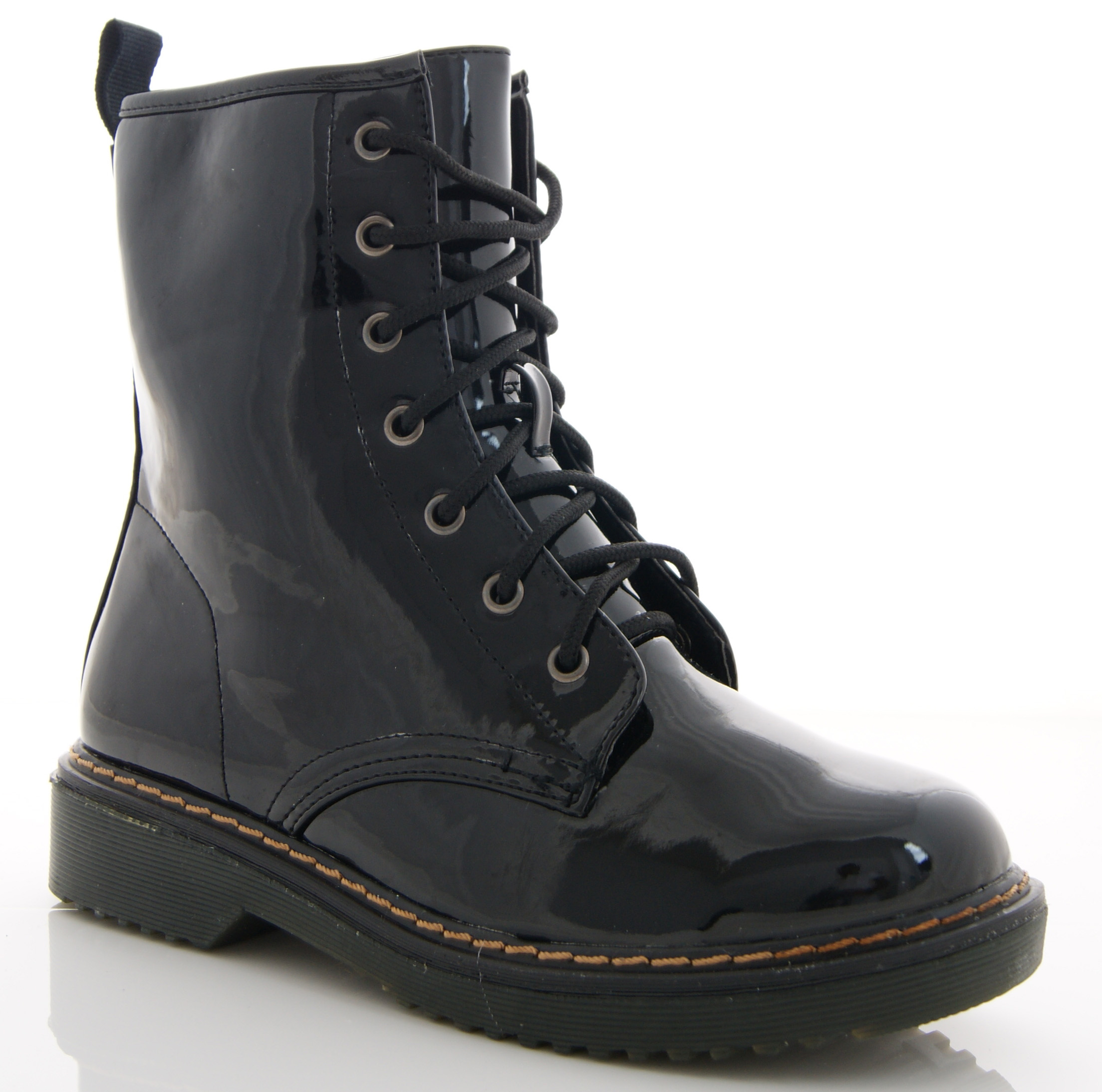 Beautiful  Womens Bronze And Black CrocEmbossed Leather Cobain Combat