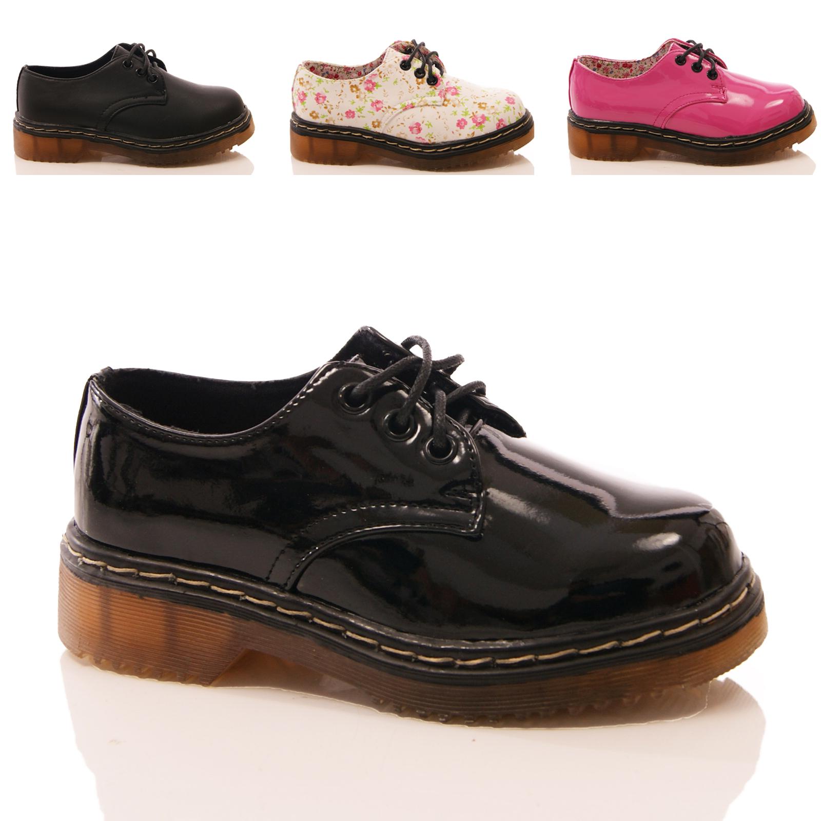 Niñas Niños Zapatos Escolares lazada patente Floral De Imitación De Cuero Fashion Talla