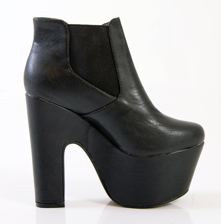 womens chunky heel platform demi wedge chelsea