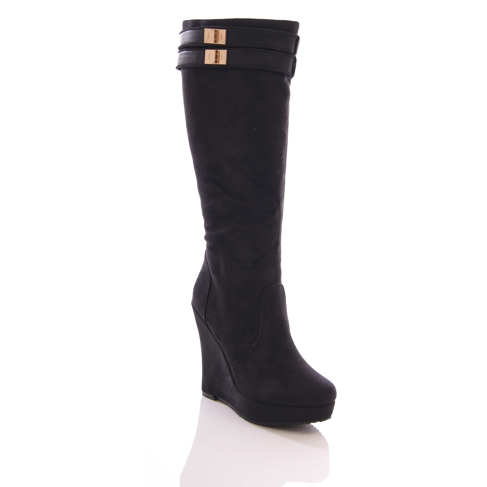 knee high boots womens wedge platform faux suede black