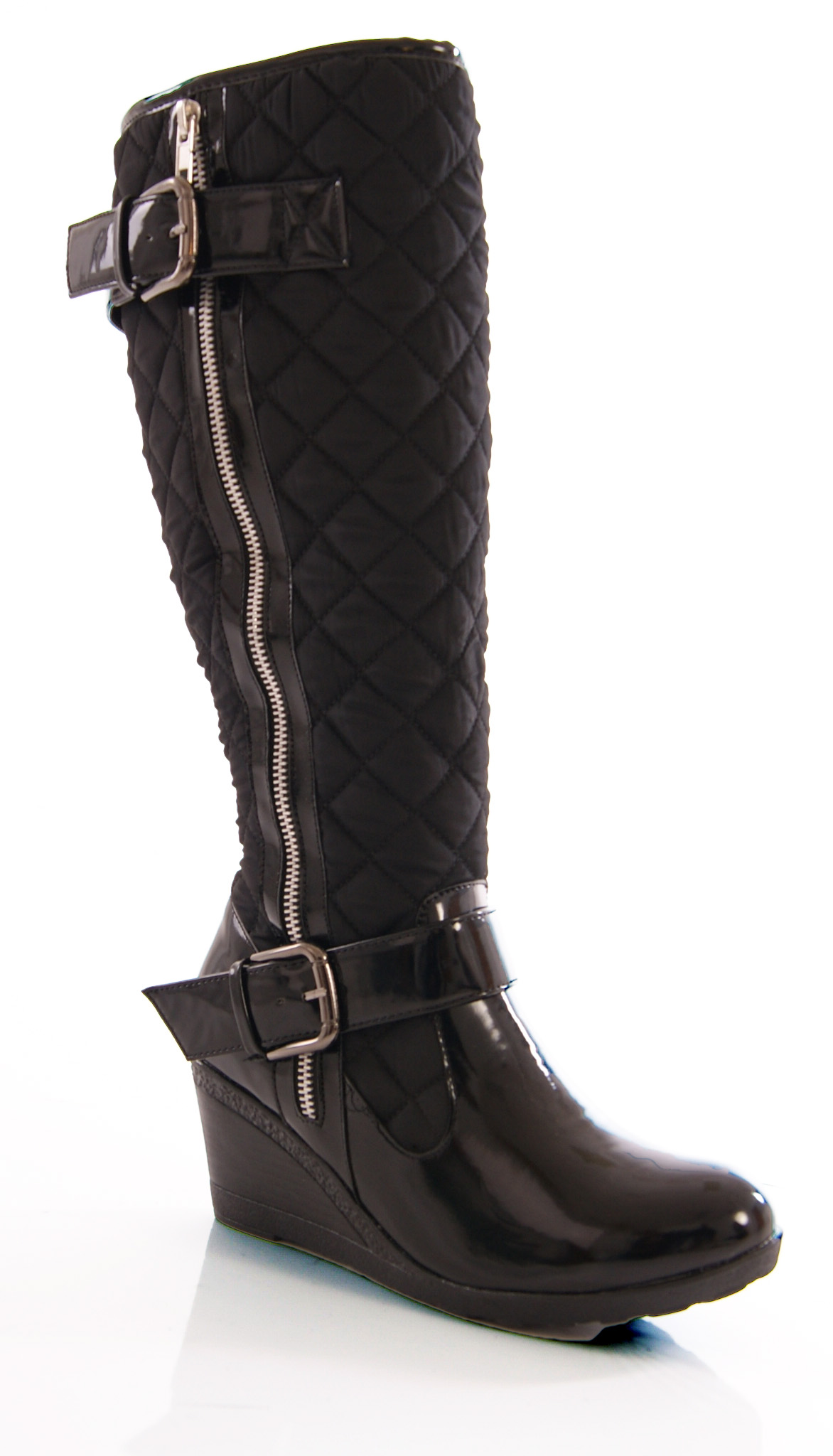 womens low wedge knee high quilted patent winter