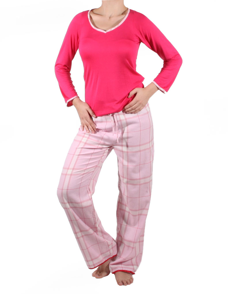 Mio Lounge Candy Floss Flannel Pink Top and Pyjama Pant Set crw4004
