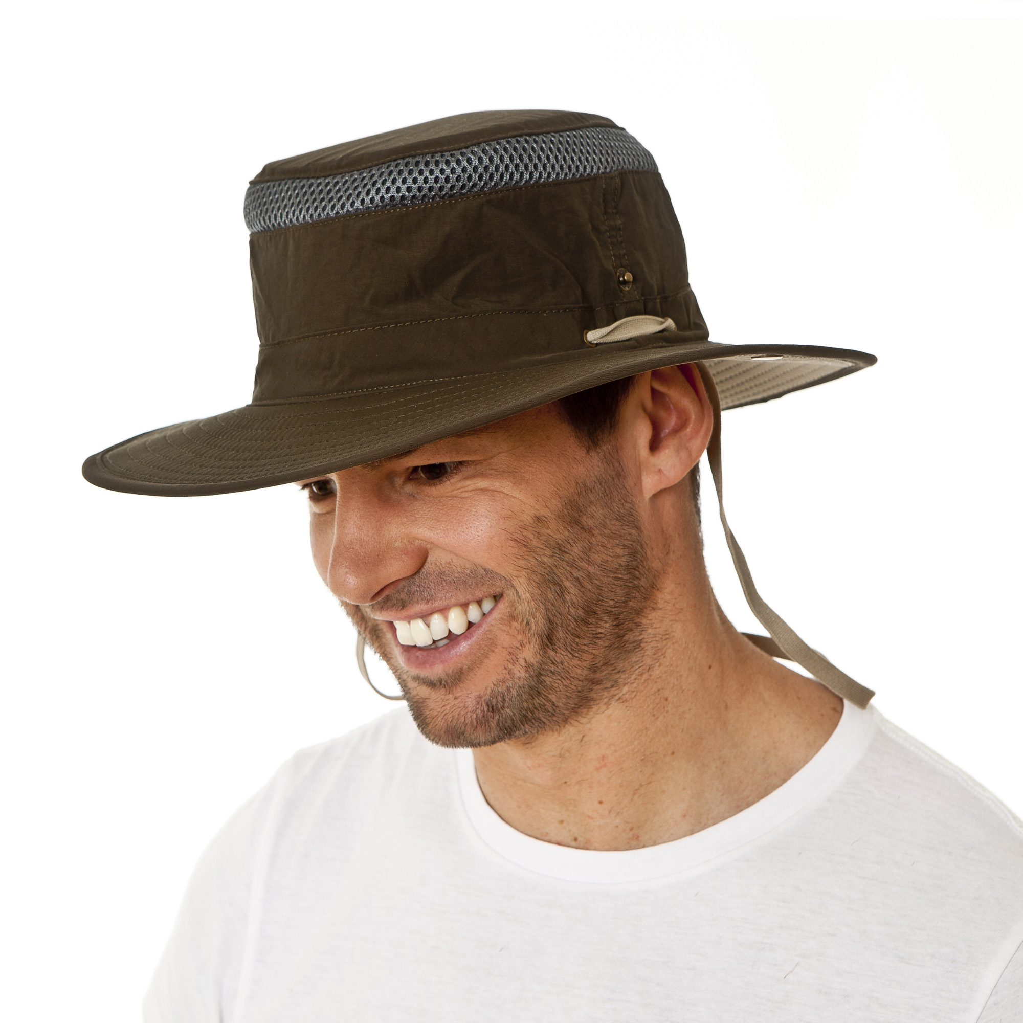 i-Smalls Men/'s Summer Vented Wide Brim Bush Hat with Chin Strap