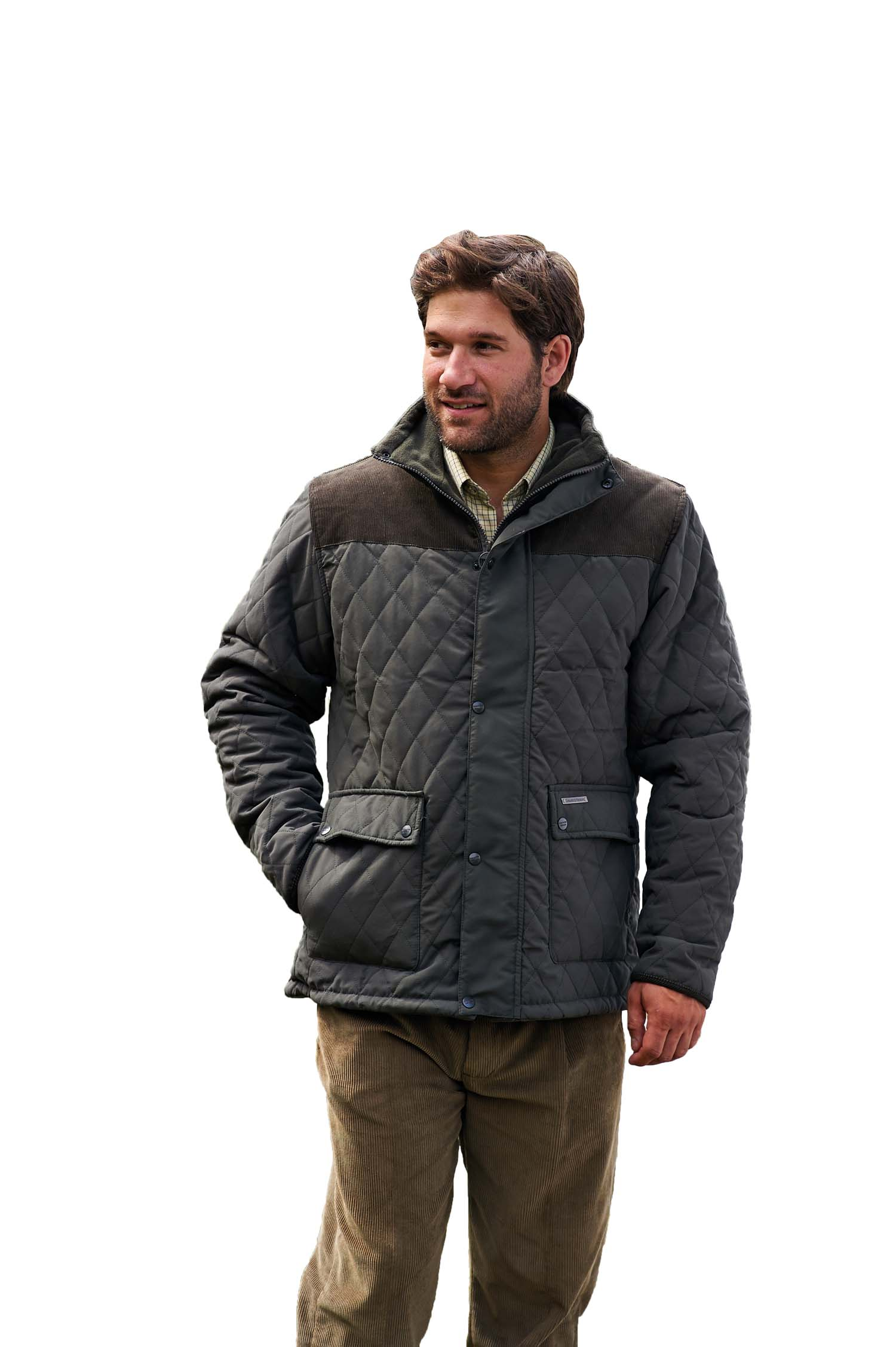 Mens champion lewis country quilted jacket coat fleece for Men flannel shirt jacket with quilted lining