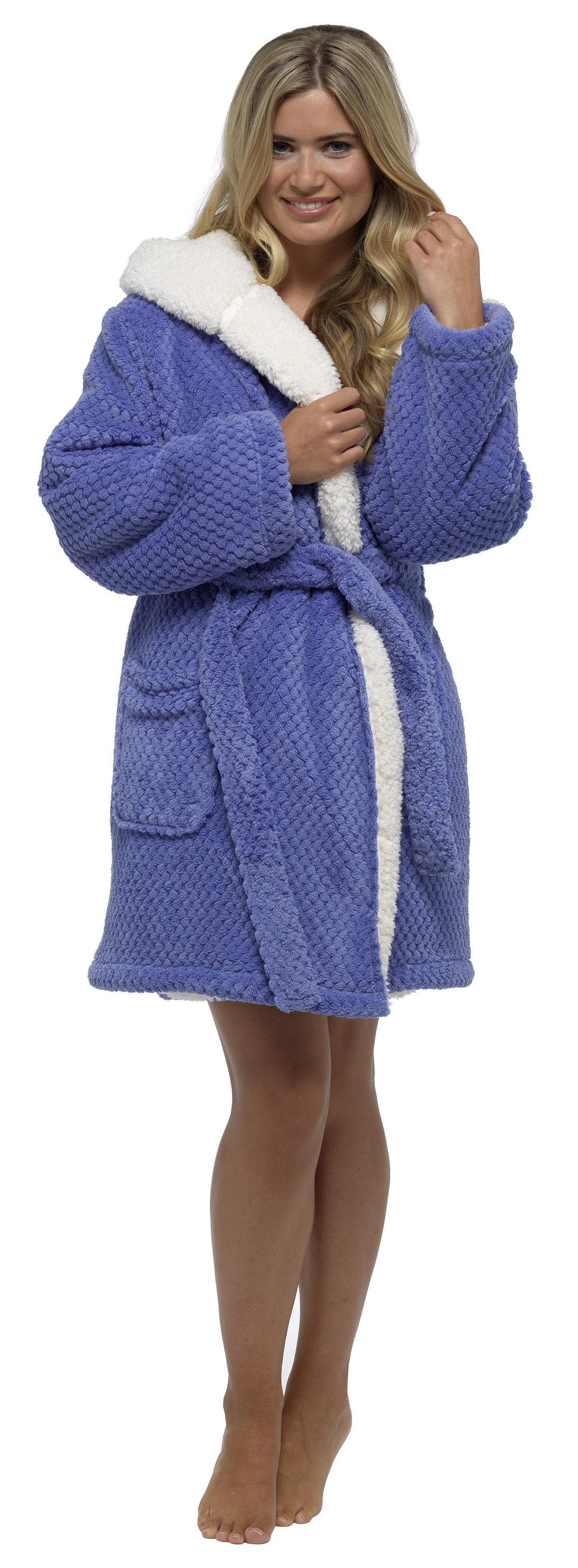 Foxbury Women\'s Waffle Sherpa Lined Thigh Length Bath Robe Dressing ...