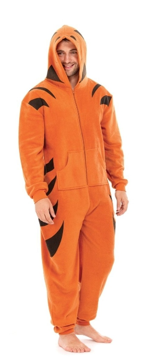mens tiger warm thermal polar fleece onesie all in one. Black Bedroom Furniture Sets. Home Design Ideas