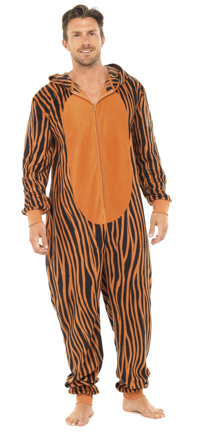 Mens tiger warm thermal polar fleece onesie all in one for Pyjama homme chaud