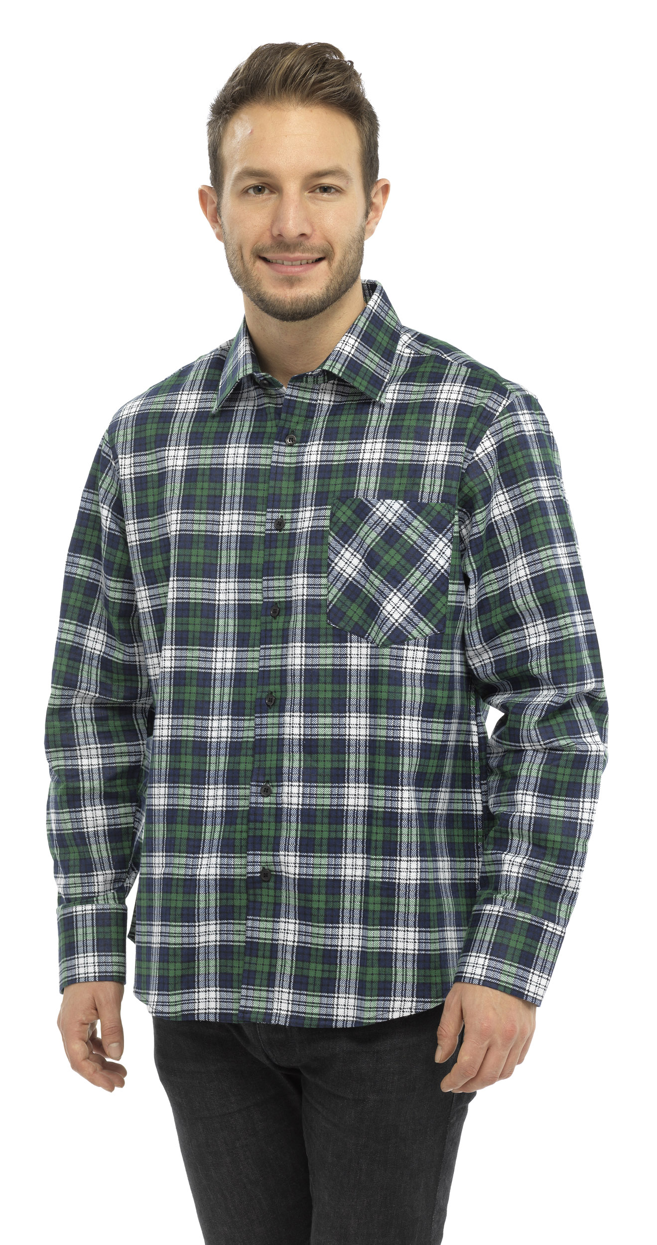 Mens modern casuals checked flannel brushed long sleeve for White cotton work shirts