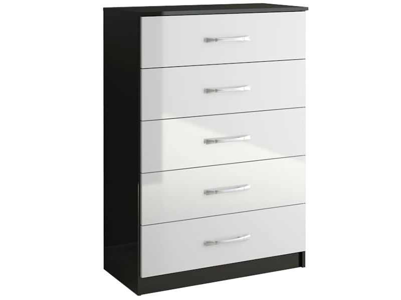 Http Www Ebay Co Uk Itm Contemporary Black White High Gloss Chest Of 5 Drawers Bedroom Furniture 261323750434
