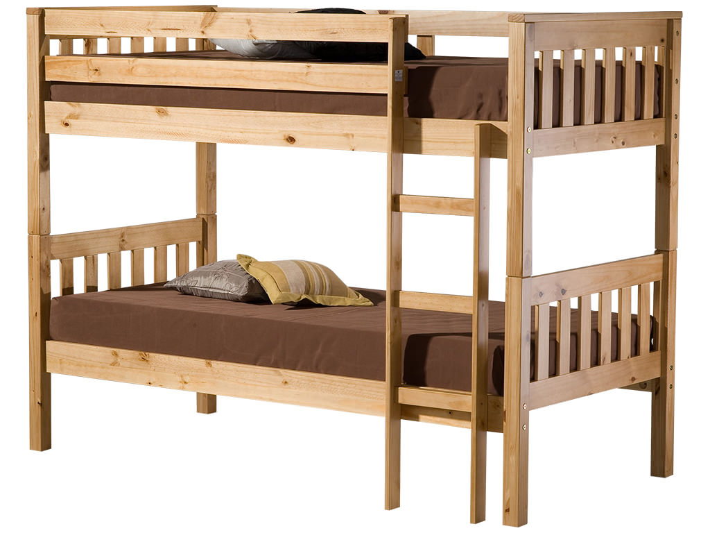 Traditional solid pine childrens kids wooden bunk bed for Single loft bed frame