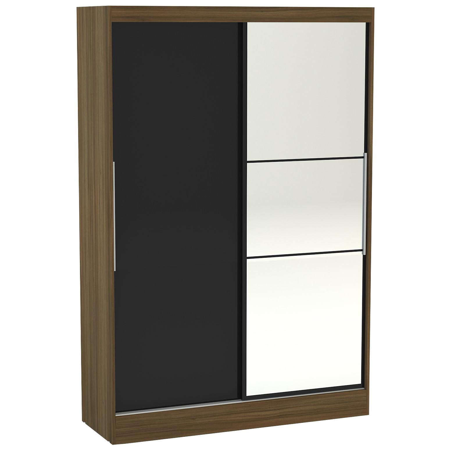 Walnut High Gloss 2 Door Hanging Sliding Mirror Wardrobe Black Cream