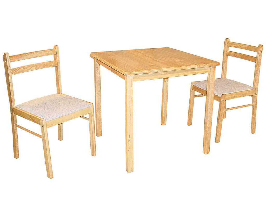 natural finish square dining table and chair set with 2