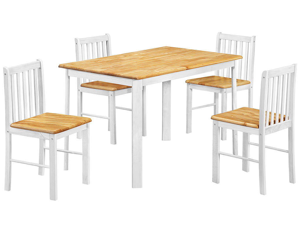 Natural Oak amp White Finish Dining Table and Chair Set with  : h004sheldondiningset411 from ebay.co.uk size 1024 x 768 jpeg 81kB