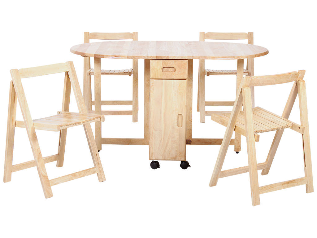 Natural Finish Oval Extending Extendable Dining Table And Chair Set
