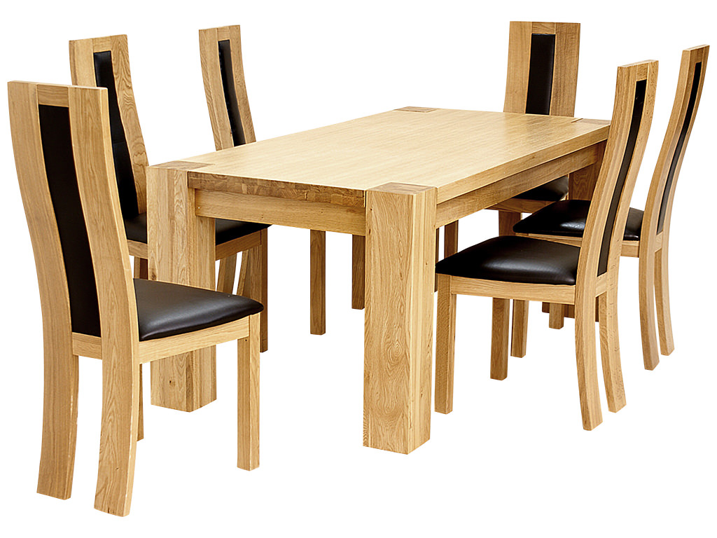 Solid oak wood veneer dining table and chair set with 6 seats ebay - Oak veneer dining table ...