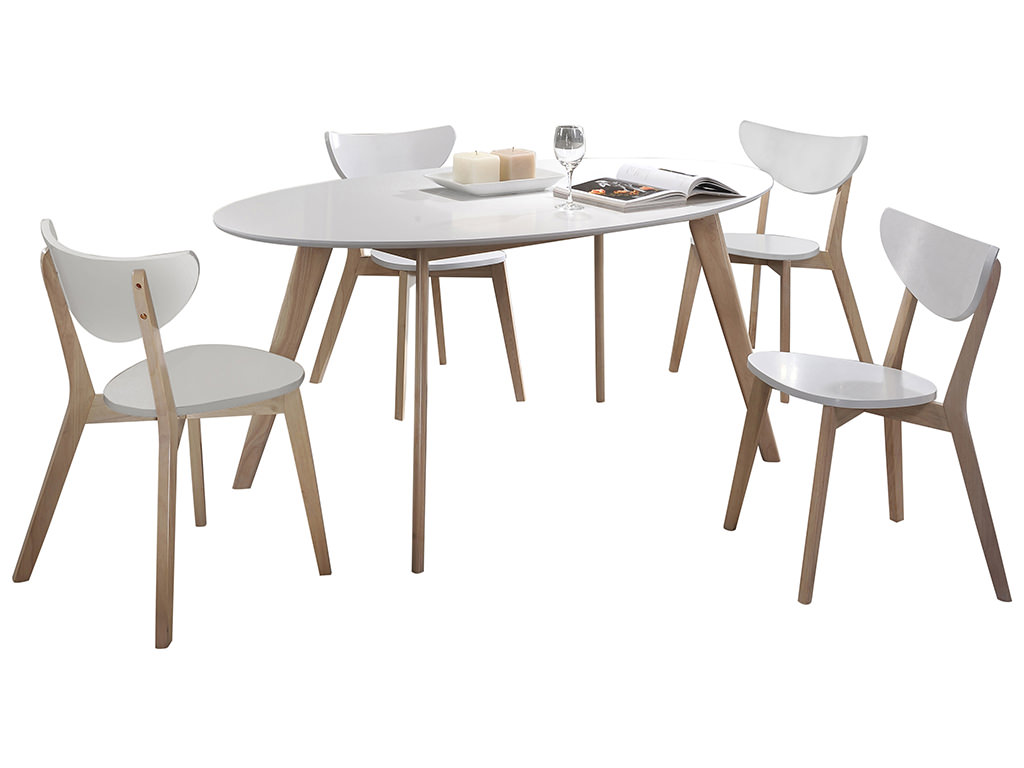 Natural wood white painted dining table and chair set for White painted dining table