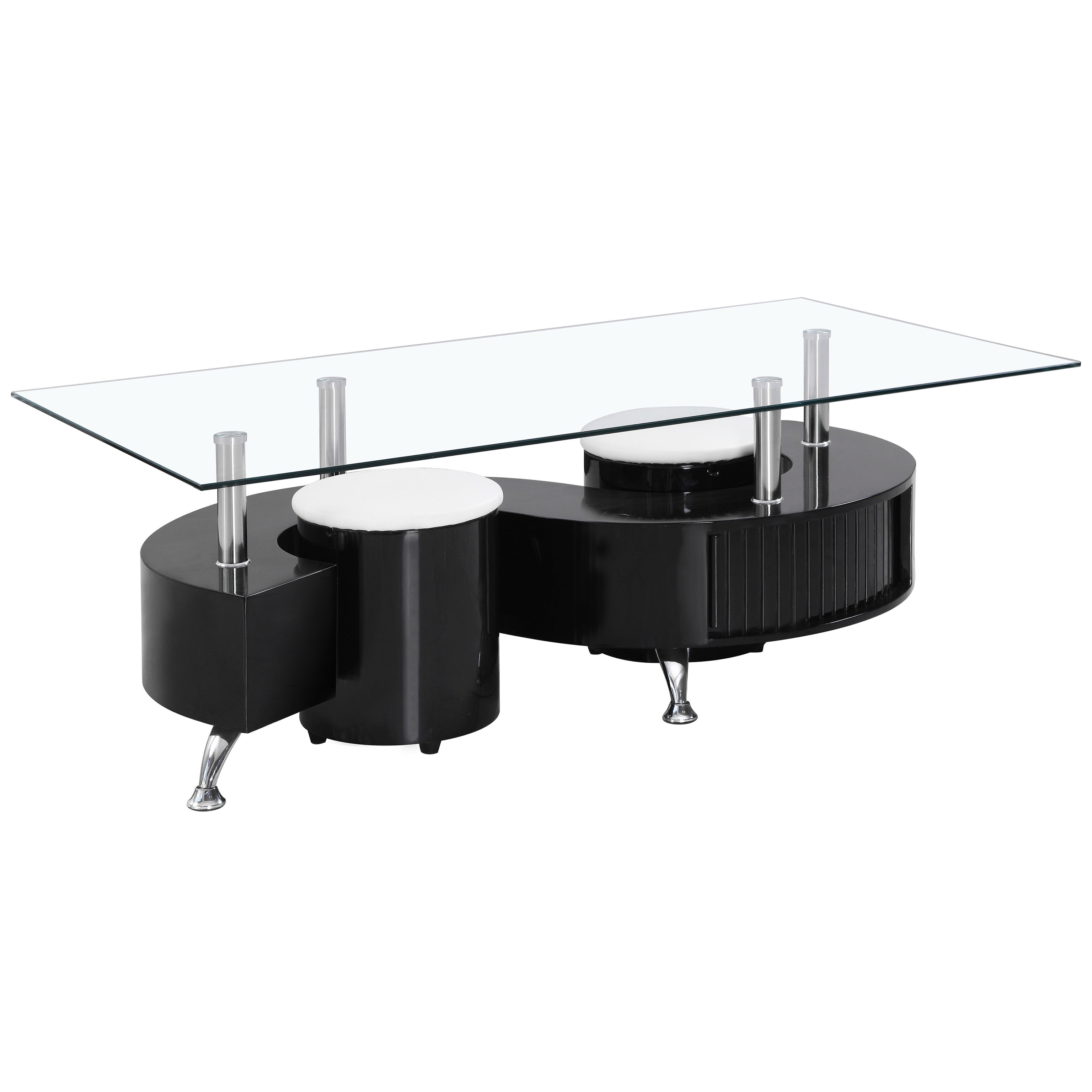 Coffee Table White Gloss Black Glass Top Coffee Table: High Gloss & Clear Glass Rectangle Coffee Table With