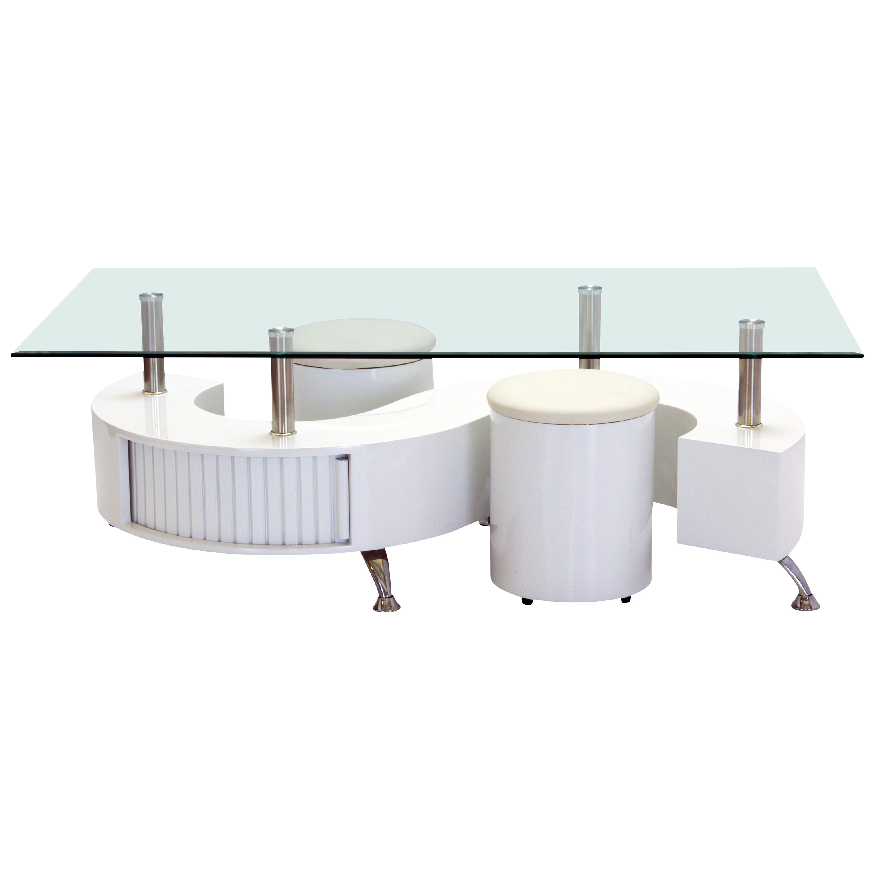 High Gloss & Clear Glass Rectangle Coffee Table With