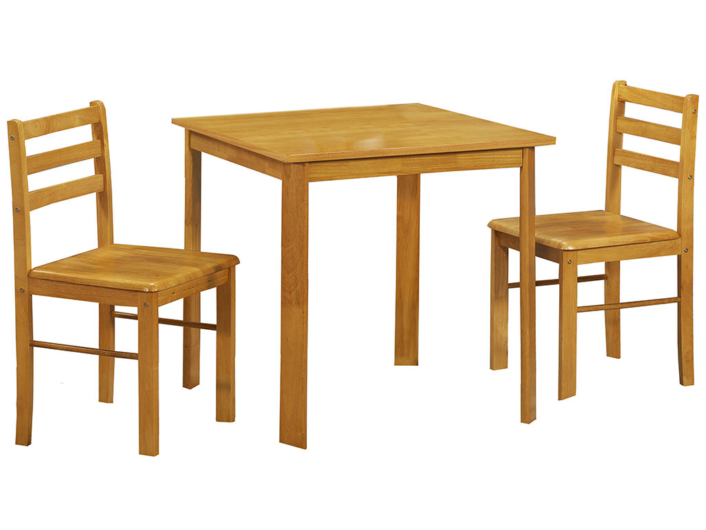 oak finish small square dining table and chair set with 2 seats