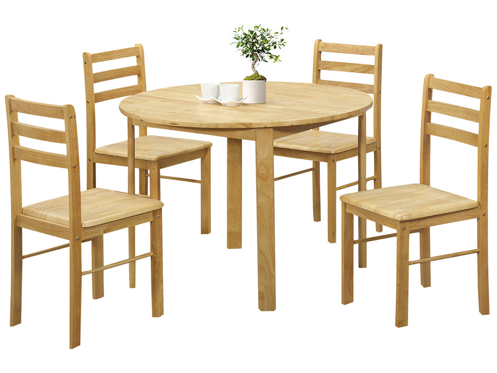 Natural oak finish round dining table and chair set with 4 seats ebay - Natural oak dining table and chairs ...