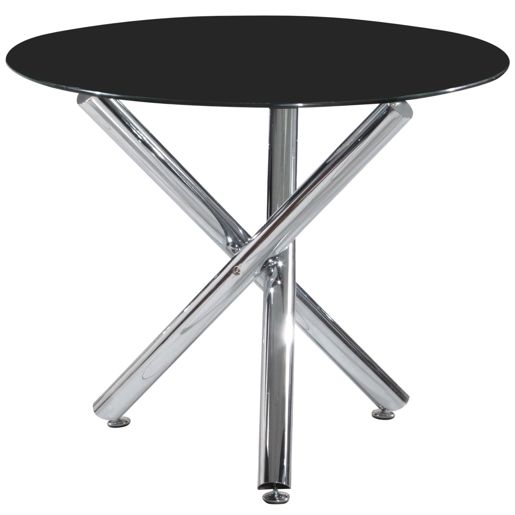 Chrome glass round dining table clear black ebay for Round glass and chrome dining table