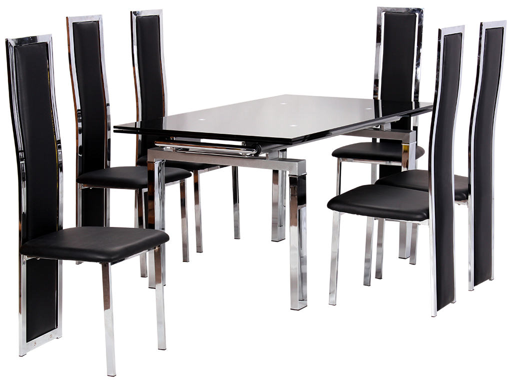 Chrome glass extending dining table and chair set with 6 for High chair dining set