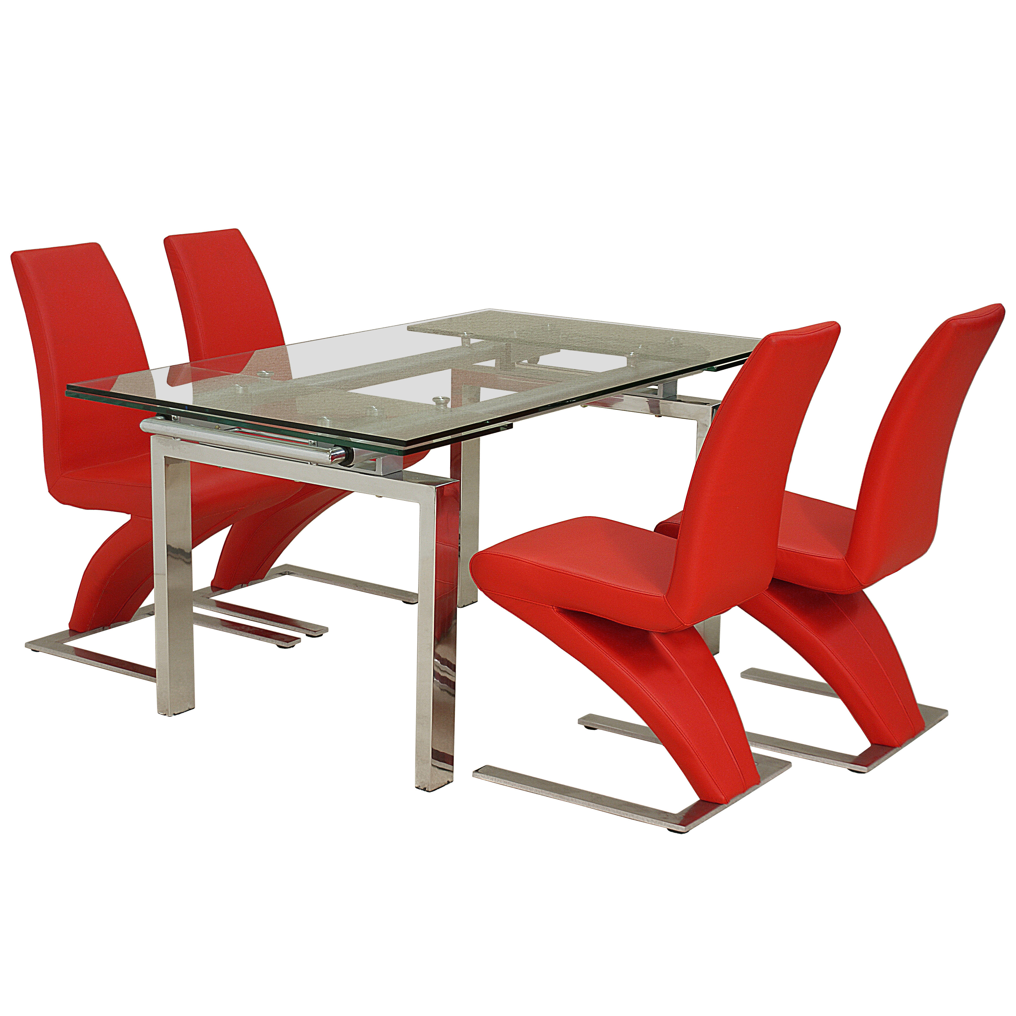 Chrome amp Clear Glass Extending Dining Table and Chair Set  : h426crystalextendingdiningset4blackankarachairs1 from www.ebay.co.uk size 3506 x 3506 jpeg 1144kB