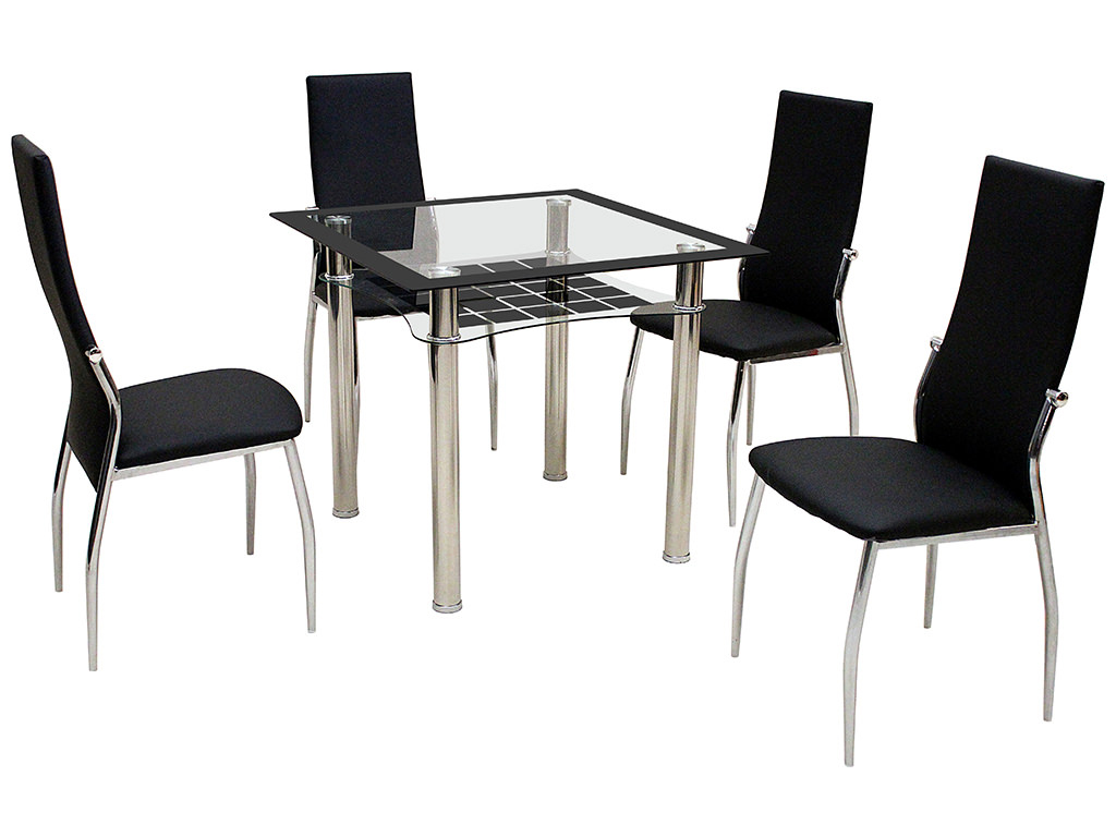 Metal glass square dining table and chair set with 2 4 2 seat dining set