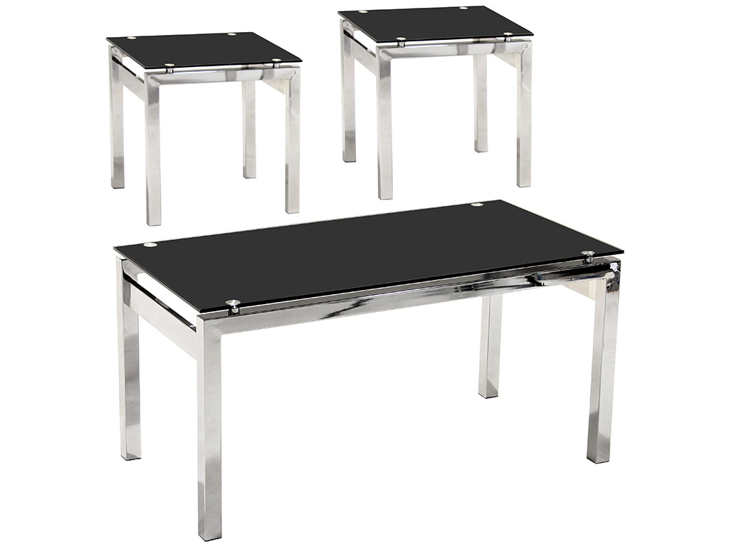 Chrome black glass occasional end lamp small side coffee table set ebay Black and chrome coffee table