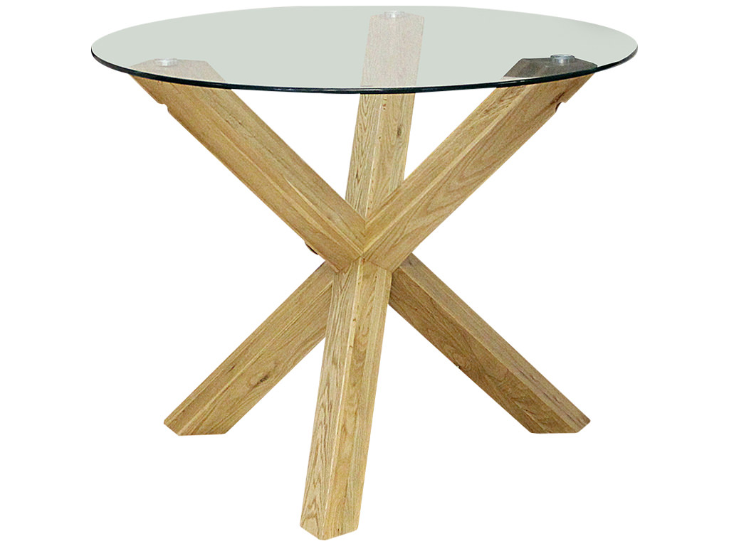 Solid Oak Clear Glass Round Dining Table EBay